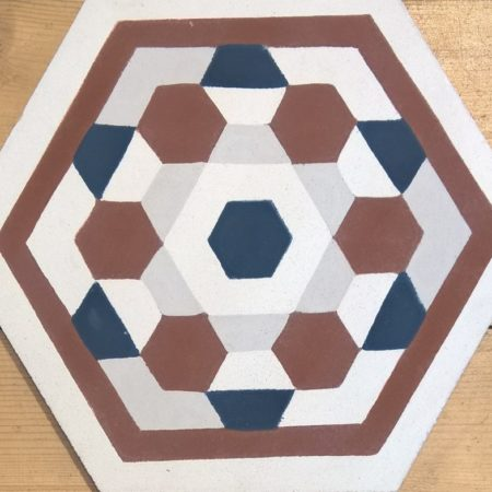 Carreau de ciment hexagonale Bouton Bordeaux