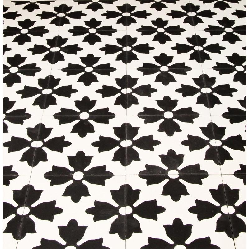 Carreau de ciment fleuri noir et blanc arborescence sud ouest for Traitement carreaux de ciment