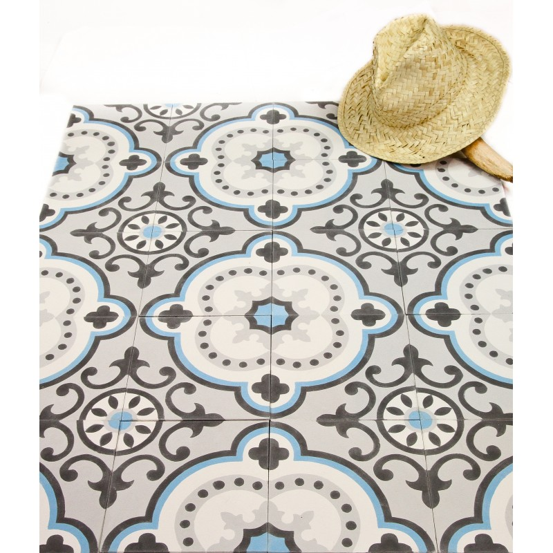 carreau de ciment motif versailles bleu arborescence sud. Black Bedroom Furniture Sets. Home Design Ideas