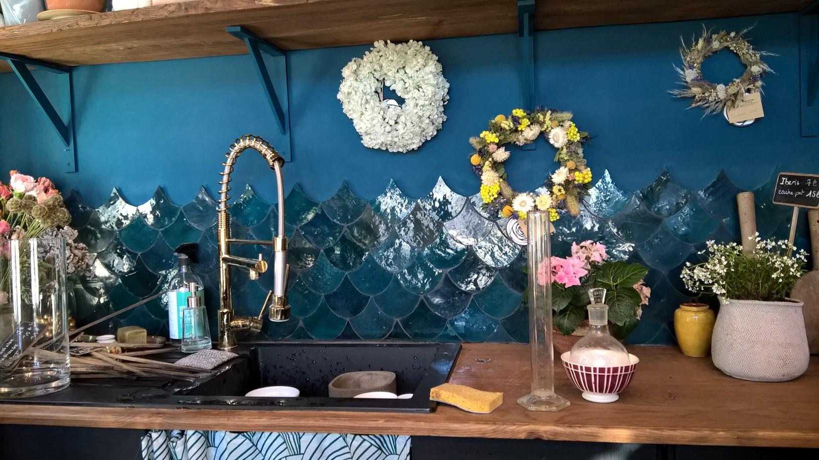 Zellige bleu vert arborescence sud ouest - Zellige de cuisine ...
